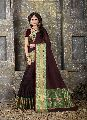 Brown Colour Cotton Silk Woven Work Saree