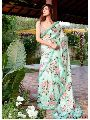 Blue Satin Printed Wedding and Bridal Designer Saree