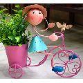 Girl ON BIKE Metal Planter for Home AND Garden Decor