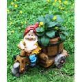 Wonderland Gnome riding Bike with Flower Pot