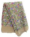 pink green blue embroidery Beige georgette fabric