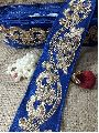Royal Blue Cotton Mix Base Gold Embroidery Flower Design Lace
