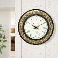 Brass on wooden design wall clock