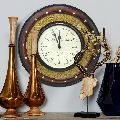 Multicolour brass carving work wall clock
