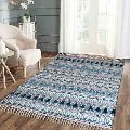 Colour Spree Aqua Hand Printed Tassel Cotton Rugs