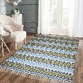 Green & Blue Hand Printed Cotton Rugs