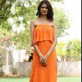 Women Tangerine Bandeau Dress