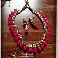 Imitaion Kundan Beads Combination Necklace Set