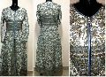 hand-block printed quilted winter gown