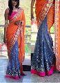 Fancy Linen Mirror Work Checkered Sarees