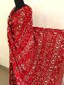 Red Party Wear Chikankari Saree with Gota Patti Work