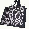 ZEBRA PRINT JUTE SHOPPING BAG