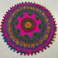 Flower Embroidered Suzani round Cushion Cover