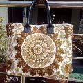 Suzani cotton Leather handle bag