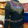 Womens thread and hand embroidered black cotton moti jacket
