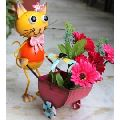 CAT pushing cart with Pot Metal Planter for Home and Garden decor