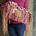 embroidery banjara suede leather tassel bags