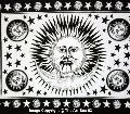 Indian Black and White Color Cotton Good Morning Sun Moon Tapestry Hippie Wall Hanging Gypsy