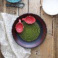 Handmade Ceramic Black Red Snacks Platter