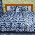 BLACK DAMASK PRINTED COTTON BED COVER