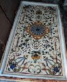 Italian Cream marble Pietra Dura Table Top, semi precious stone dinning tables