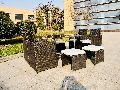 9 Piece Steel Rattan Cube Dining Set