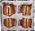 Copper Hammered Mule Mug with Brass Handle Gift Set
