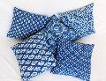 Blue & White Printed Square Cotton Cushion Cover