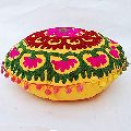 Suzani Cotton Work Embroidered Round Floor Cushion Cover