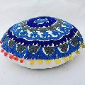 Suzani Flower Design Embroidered Round Cotton Cushion Cover