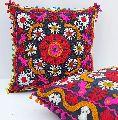 Suzani Handmade Square Shape Embroidered Cotton Cushion Cover