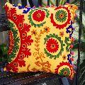 Suzani Pom Pom Multicolor Square Cotton Cushion Cover