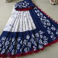 Pom Pom Cotton Hand Block Printed Saree