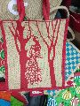 Peacock on tree print fancy jute bags