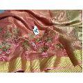 Peach Embroidered Linen Saree