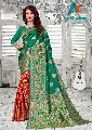 Green & Red Silk With Golden Weaving jacquard Saree