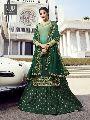 Green Satin Georgette Lehenga Style Suit
