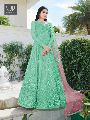 Sea Green Color Net Designer Anarkali Suit