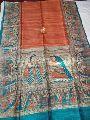 Handloom Madhubani Print Ghicha Pure Tussar Silk Saree