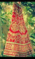 Bridal Red Georgette Lehenga with Full Zari Resham Work