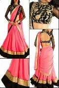 Georgette Lehenga with Embroidery Velvet Blouse