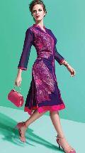 Blooming Purple Embroidered Georgette Office Wear Designer Kurti