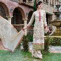 Classy Beige Embroidered Georgette Salwar Kameez