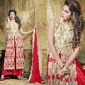 Delightful Cream Embroidered Soft Net Designer Salwar Suit