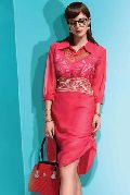 Distinctive Dusty Pink Embroidered Georgette Office Wear Kurti
