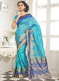 Divine Boutique Blue Banarasi Silk Saree