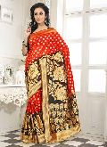 Divine Boutique Orange Black Banarasi silk Saree