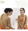 Divine Boutique Orange Net Stonework Embroidered Lehenga Saree