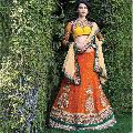 Divine Boutique Orange Viscose Patch Border Work a Line Lehenga Choli