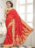 Divine Boutique Red Banarasi Silk Saree